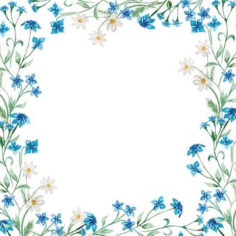 Ilustração de grinalda de flores silvestres de verão desenhados à mão em aquarela