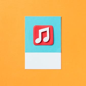 Ilustração de ícone de nota musical de áudio