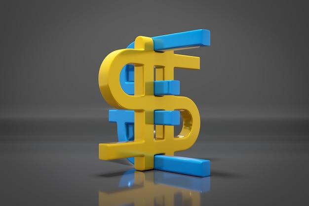 Ilustração de ícones de dinheiro do euro e do dólar em fundo cinza isolado. símbolo de troca de moeda, preços em alta. converta dólares em euros e vice-versa.