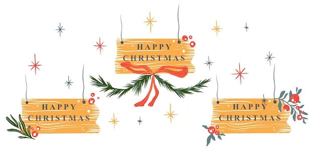 Ilustração de inverno de natal elementos decorativos de placa de feliz natal isolados no fundo branco