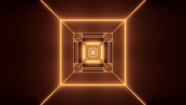 Ilustração de luzes douradas em formas retangulares fluindo em uma única direção