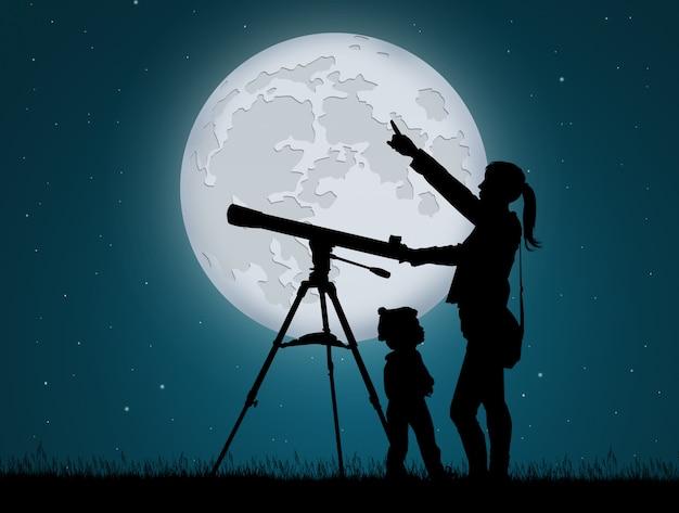 Ilustração de mãe e filho olhando o céu com telescópio
