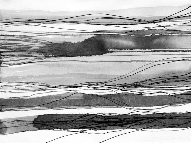 Ilustração de mão desenhada de tinta de paisagem abstrata.
