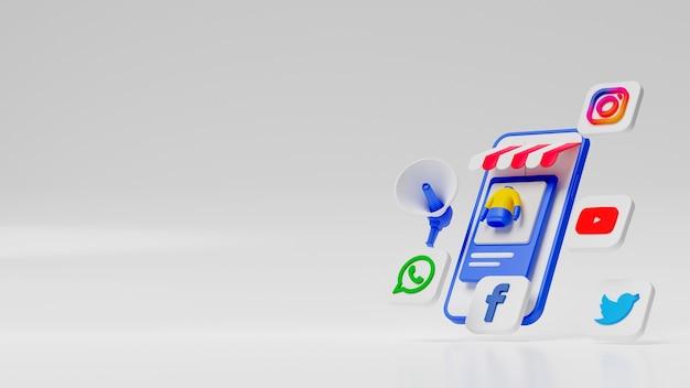 Ilustração de marketing de mídia social 3d. foto premium
