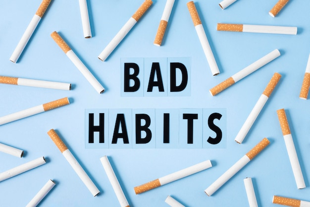 Ilustração de maus hábitos