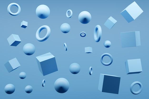 Ilustração de monocrome 3d azul do close-up. diferentes formas geométricas: cubo, cilindro, esfera são colocados à mesma distância. formas geométricas simples voando