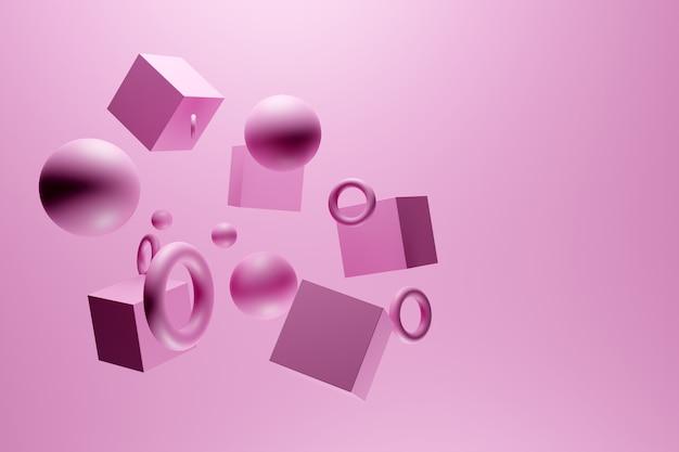 Ilustração de monocrome 3d rosa do close-up. diferentes formas geométricas: cubo, cilindro, esfera são colocados à mesma distância. formas geométricas simples voando