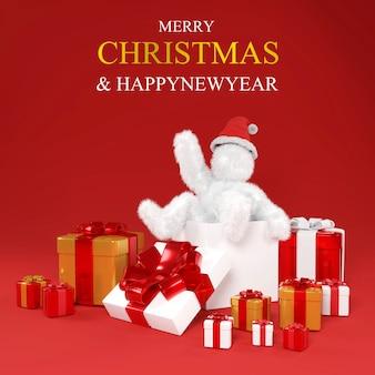 Ilustração de natal com desenho animado de besta branca peludo branco no chapéu de papai noel e a caixa de presente grande.