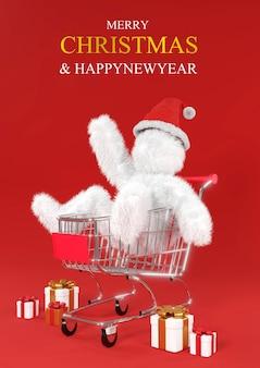 Ilustração de natal com desenho animado de besta vermelha peluda branca no chapéu de papai noel no carrinho de compras.