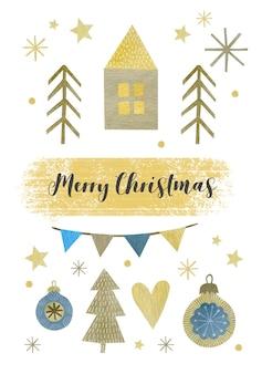 Ilustração de natal em aquarela cartão de felicitações de feliz ano novo