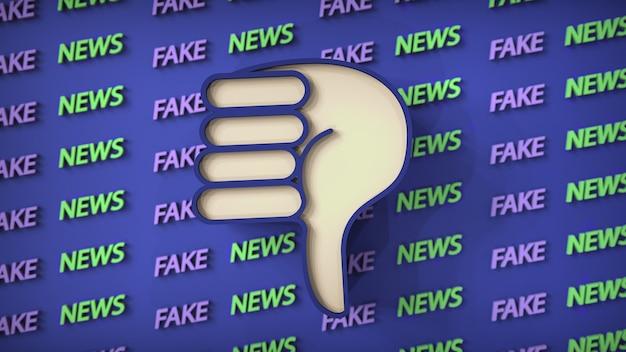 Ilustração de notícias falsas como pano de fundo com um ícone de polegar para baixo