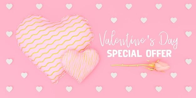 Ilustração de oferta especial de dia dos namorados em fundo rosa 3d render