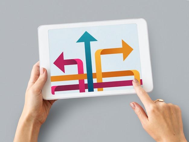 Ilustração de oportunidades no ponto de viragem para a mudança no tablet digital