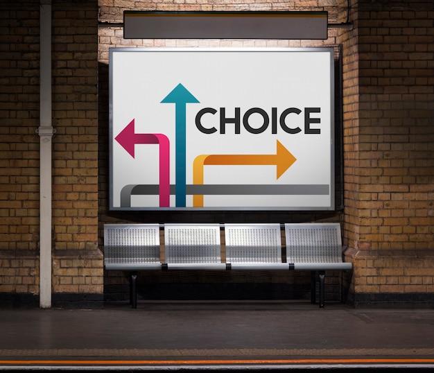 Ilustração de oportunidades no ponto de viragem para mudar no metro