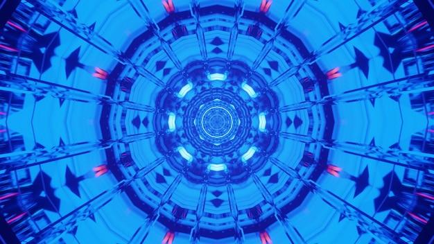 Ilustração de ornamento surreal abstrato brilhando com luz de néon azul brilhante