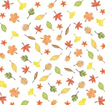 Ilustração de outono com padrão de folhas