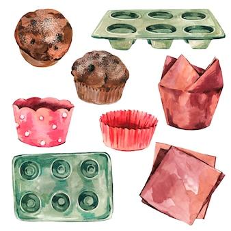 Ilustração de padaria aquarela, clipart de utensílios de cozinha, bandeja de muffin, muffin de chocolate.