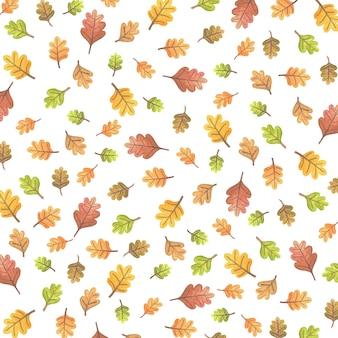 Ilustração de padrão de outono com folhas coloridas