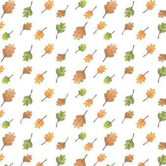 Ilustração de padrão de outono com folhas de árvore de outono
