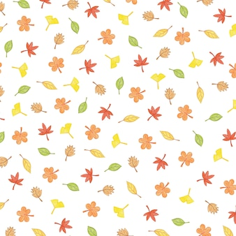 Ilustração de padrão de outono com folhas de outono coloridas