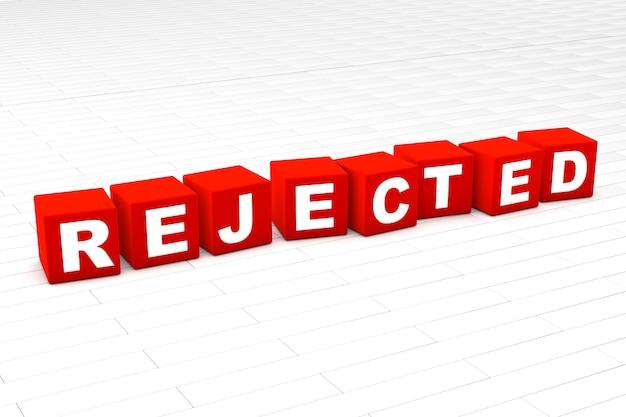 Ilustração de palavra rejeitada