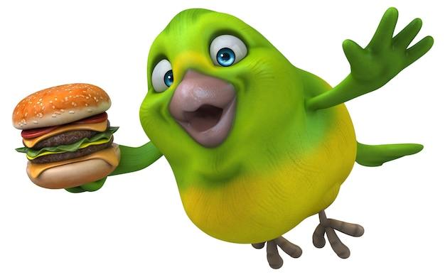 Ilustração de pássaro verde divertido