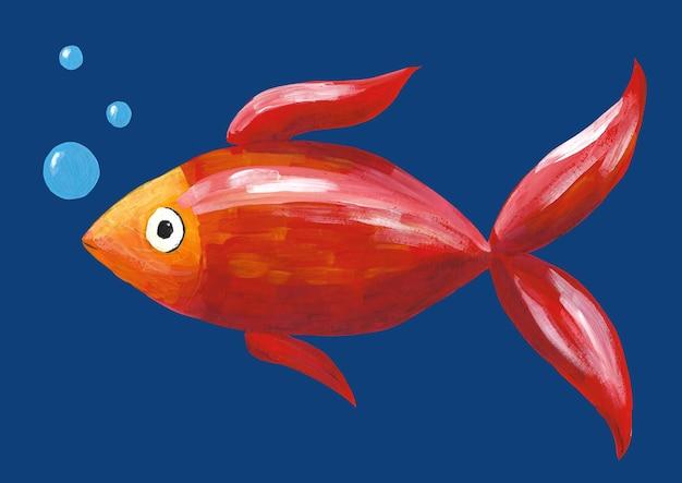 Ilustração de peixes de mão desenhada guache. peixe vermelho com bolhas azuis em fundo azul escuro.