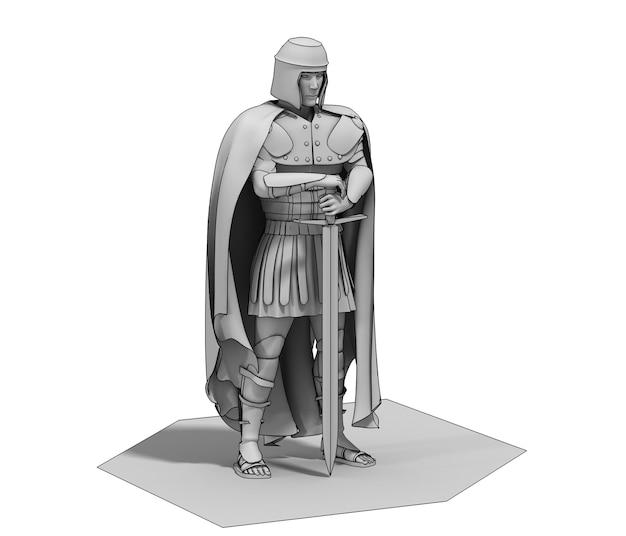 Ilustração de personagem guerreiro renderização 3d
