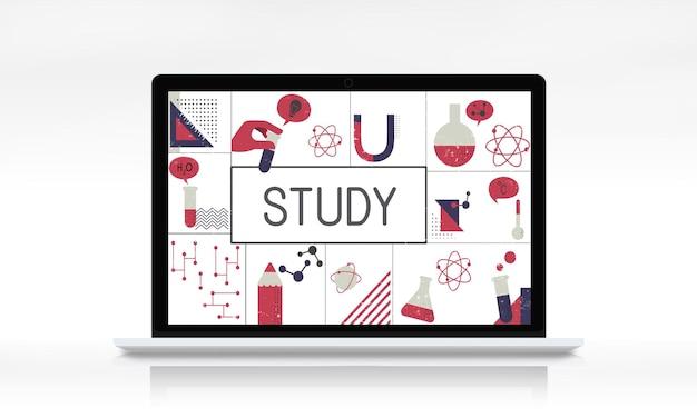 Ilustração de pesquisa científica de estudo bioquímico em laptop