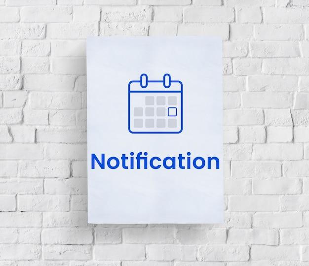 Ilustração, de, pessoal, organizador, calendário, ligado, parede tijolo