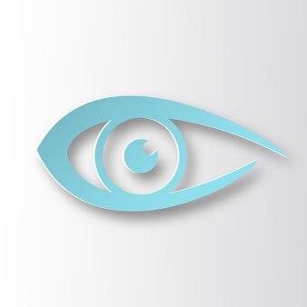 Ilustração de raster de sinal de olho, ícone de estilo de papel infográfico com sombra