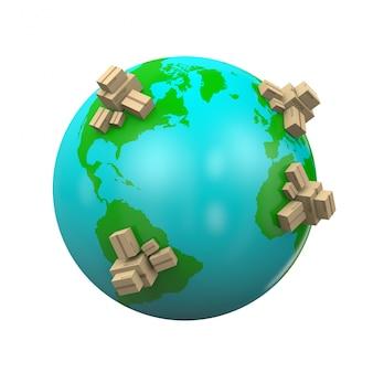 Ilustração de remessa mundial