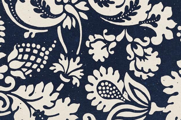 Ilustração de remix de padrão botânico de índigo com fundo floral william morris