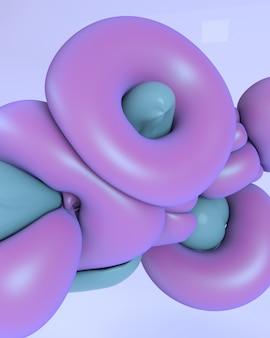 Ilustração de renderização 3d. abstrato formas suaves suaves. cor azul.