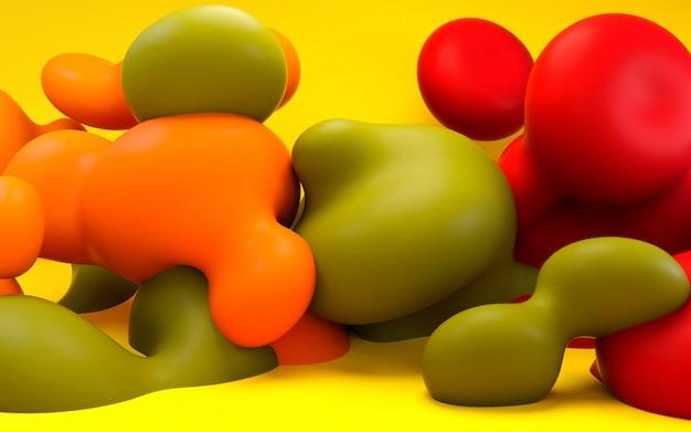 Ilustração de renderização 3d. abstrato líquido arte suave. bolas e bolhas.