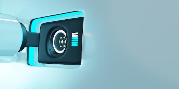 Ilustração de renderização 3d. carregador de carro elétrico e soquete no veículo