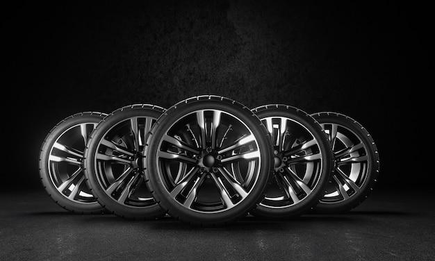 Ilustração de renderização 3d. cinco rodas de carro no asfalto e fundo preto