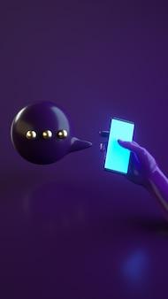 Ilustração de renderização 3d com a mão segurando o telefone