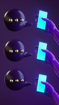 Ilustração de renderização 3d com as mãos segurando o telefone