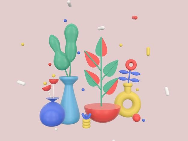 Ilustração de renderização 3d composição geométrica abstrata com planta de flor e formas geométricas