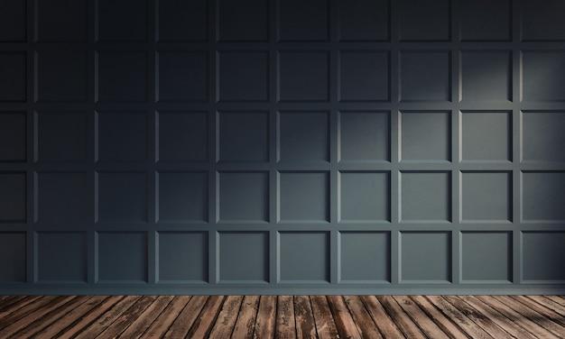 Ilustração de renderização 3d da sala de estar com painel de parede de madeira azul escuro luxuoso e piso de madeira.