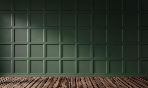 Ilustração de renderização 3d da sala de estar com painel de parede de madeira verde escuro fosco e piso de madeira.