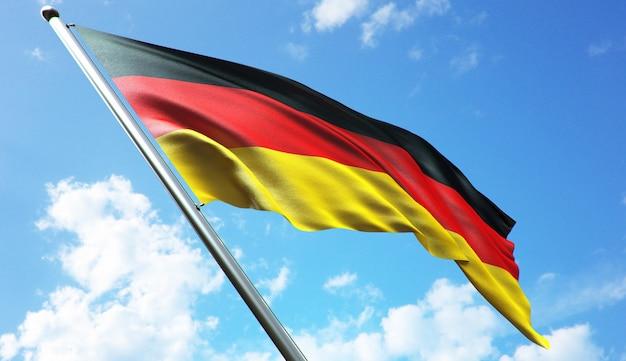 Ilustração de renderização 3d de alta resolução da bandeira da alemanha com um fundo de céu azul