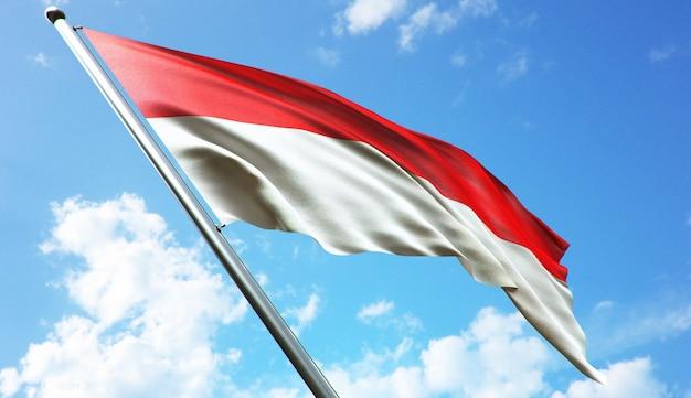 Ilustração de renderização 3d de alta resolução da bandeira da indonésia com fundo de céu azul