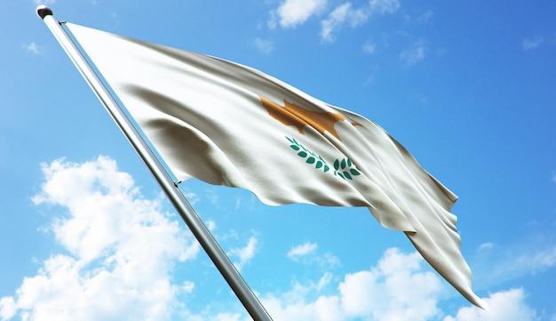 Ilustração de renderização 3d de alta resolução da bandeira de chipre com um fundo de céu azul