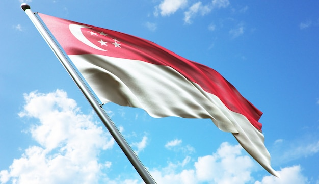 Ilustração de renderização 3d de alta resolução da bandeira de cingapura com um fundo de céu azul