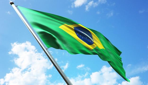 Ilustração de renderização 3d de alta resolução da bandeira do brasil com um fundo de céu azul