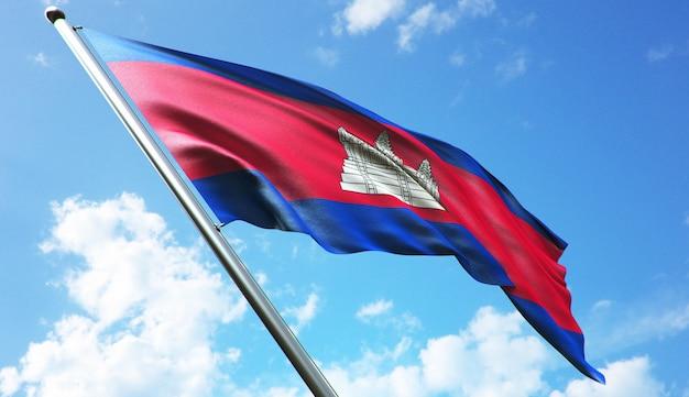 Ilustração de renderização 3d de alta resolução da bandeira do camboja com fundo de céu azul