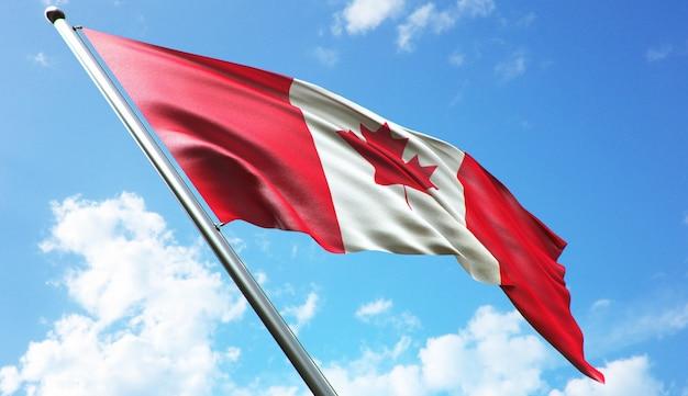 Ilustração de renderização 3d de alta resolução da bandeira do canadá com um fundo de céu azul