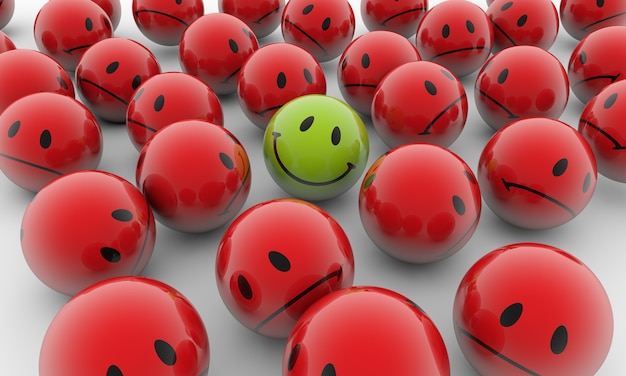 Ilustração de renderização 3d de bolas vermelhas com emoções tristes e uma verde feliz em uma superfície branca
